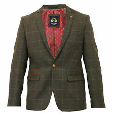 Mens Designer Tweed Herringbone olive Green Vintage Checked Coat Jacket Retro
