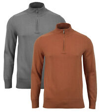 NKD Mens Funnel Neck Cotton Rich Zip Jumper New Knitted Sweater Pullover Top