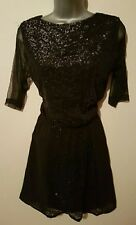 NEXT BNWT Stylish Black Sequin Sheer Layer Dress size 10 RRP £65