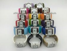 Ladies Square Case Snakeskin Leather Bangle Cuff Easy Reader Numbers Watch EB3