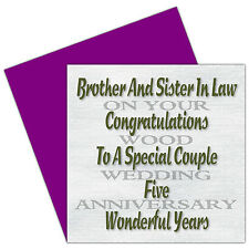 Brother & Sister In Law 1st - 70th Years - On Your Wedding Anniversary Card