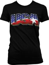 USA Flag Letters Star Imprint Patriotic Americana Pride Juniors T-shirt