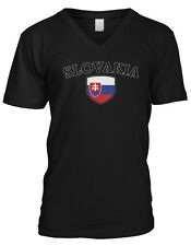 Slovakia Flag Crest Slovak National Soccer Football Pride Mens V-neck T-shirt