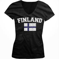 Finland Country Flag Finnish Pride Suomi Football Soccer Juniors V-neck T-shirt