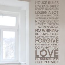 HOUSE RULES WALL STICKERS vinyl love quote family transfer lounge art decal
