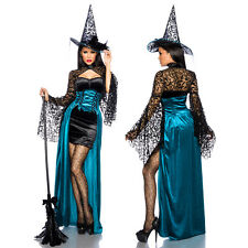 Sexy Witch Costume Dress Halloween Carnival Gothic Top Hat Feathers Black Velvet