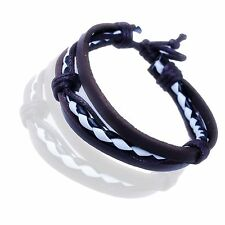 Mens Womens Real Leather Surfer Style Bracelet Wristband GMUS100A1