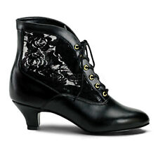 "Funtasma Victorian Lace Ankle Boots Shoes Black 2"" Heel Pioneer 6 7 8 9 10 11 12"