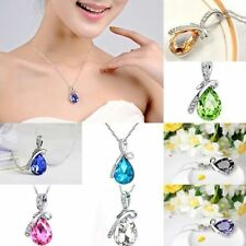 Womens Silver Chain Crystal Rhinestone Pendant Necklace Fashion Jewelry Gift