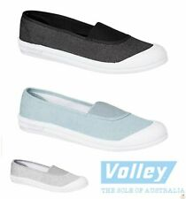 DUNLOP VOLLEY PIPER Women's Slip On Lace Free Shoes Casual Canvas Volleys Flat