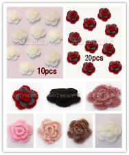 20x Handmade 3-layer Spring Flower Crochet Appliques Sewing Trim Craft Hat DIY
