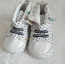 Dark blue dot white high top boy shoes toddler shoes baby boy shoes UK size2,3,4