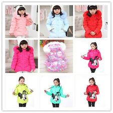 Kids Toddler Girls Clothes Winter Cotton Minnie Mouse Hooded Coat Jacket 3-8Y