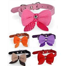 G40 Cute Wool Bow Dot Pet's Supplies Collar PU Dogs/Cats Adjustable Neck Strap