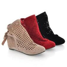 H Summer Womens Casual Bowknot Flat Heels Ankle Fashion Sandals Boots Shoes Size
