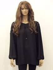 New womens black sheer lace detail loose fit plus size blouse top 16-28