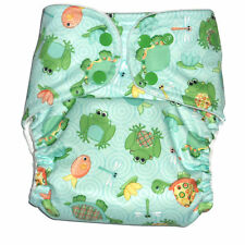 Cloth diaper Pocket  with 1 pc Insert- Frog & turtle Pattern