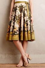 NEW Anthropologie Vintage Style Sun Palm Midi Skirt by Rose & Rose Size XSP, XS