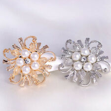 Vogue Women Alloy Flower Shape Pin Pearl Corsage Wedding Party Shiny Broochs