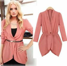 Women Casual Long Sleeve Chiffon One Button Slim Blazer Jacket Coat Cardigan Top