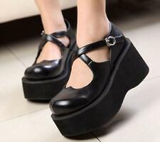 US Womens Lolita Wedge Heel Cross Strap Buckle Platform Ankle Boots Shoes Size #