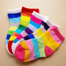 Kids Baby Boys Girls Casual Soft Cotton Socks Candy Color Hosiery 5 Pairs