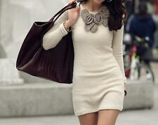 Fashion Autumn Three-dimensional Flower Slim Long Sleeve Woolen Knit Dress C489