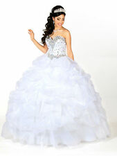 Hot Sale Sweetheart white/blue quinceanera dress pageant party prom Gown Custom