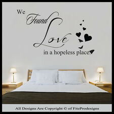 Vinyl Wall Art / Quotes, Stickers / Decals, Mural, Bedroom, WE FOUND LOVE