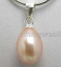 "SALE Big 7-8MM Drop Purple Natural Pearl Pendants &Silver plated 17"" Chain-n5169"