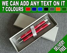 PERSONALISED ENGRAVED Pen & Pencil Set - Any Name Any Text + GIFT PRESENT IDEA