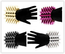 Hot Punk Rocker Style Wide 5 Row Elastic Stretch Spike Cone Bangle