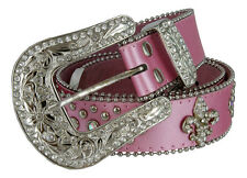 Ladies Western Rhinestone Silver Circle Studs and Fleur De Lis Ornaments Belts