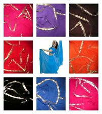 GOLD or SILVER Trimmed SEMI CIRCLE Belly Dance Dancing Costume Veil Wrap Scarf