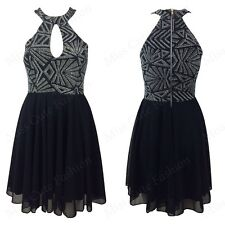 NEW WOMENS LADIES GLITTER HIGH NECK TOP KEYHOLE FRONT SEXY PARTY SKATER DRESS