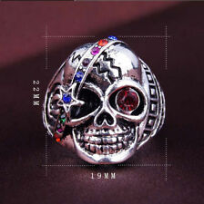 Unisex Vintage Crystal Rhinestone Skull Head Punk Biker Finger Ring Jewellery