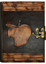 Apple Pattern Leather Journal / Diary / Notebook / Brown Handmade Sketchbook Art
