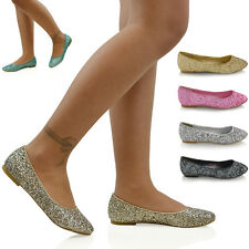 NEW WOMENS LADIES FLAT GLITTER BRIDAL BRIDESMAID PROM DOLLY PUMPS SHOES 3-9