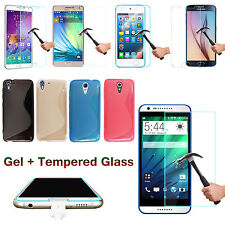 S-Line Silicone Wave TPU Gel Phone Case Cover + Tempered Glass Screen Protector
