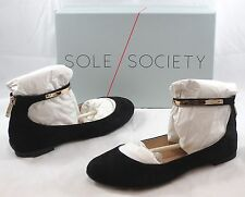SOLE SOCIETY Women's Lenora Ballet Flat - Black Suede - Multi SZ NIB - MSRP $65