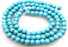 "SALE Small 4-4.5mm  Round Natural Blue TURQUOISE beads strand 15""-los532"
