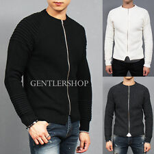 Men's Fashion Slim Fit Ribbed Paneling Zip Up Jumper Sweater, GENTLERSHOP