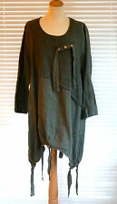 Fabulous quirky Italian mid weight linen lagenlook tunic style Dress RSP £69
