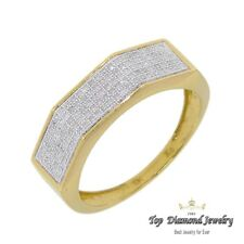 mens diamond .42 carats 10K yellow gold ring wedding band dress anniversary mans