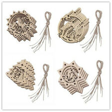 10pc Wooden Laser Cut Christmas Xmas Gift Tags Tree Hanging Decorations Ornament