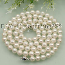 s071 Long AA 7-8mm 8-9mm Pink White Black Fresh Water Akoya Pearl Necklace