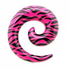 Spiral Taper Zebra Pink Black Ear Expander Piercing Animal Print Earring Acrylic