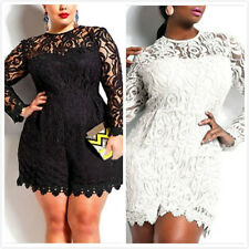 PLUS Size Women Floral Lace Long Sleeves Bodycon Jumpsuit Romper Shorts Trousers