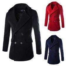 Mens Jacket Wool Look Trench Coat Double Breasted Military Winter Lined Warm New