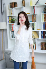 Fashion Women Slim Long Sleeve Stand Collar Nail Bead Lace Shirts Tops Blouses
